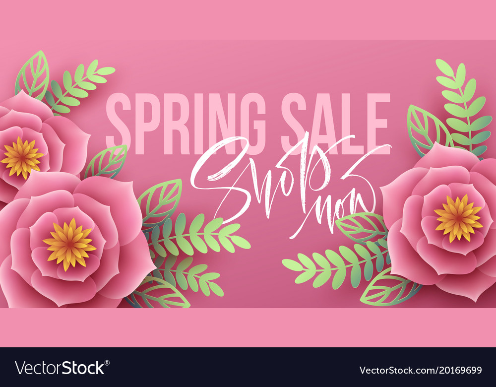 Spring sale banner with paper flowers and vector image mightylinksfo