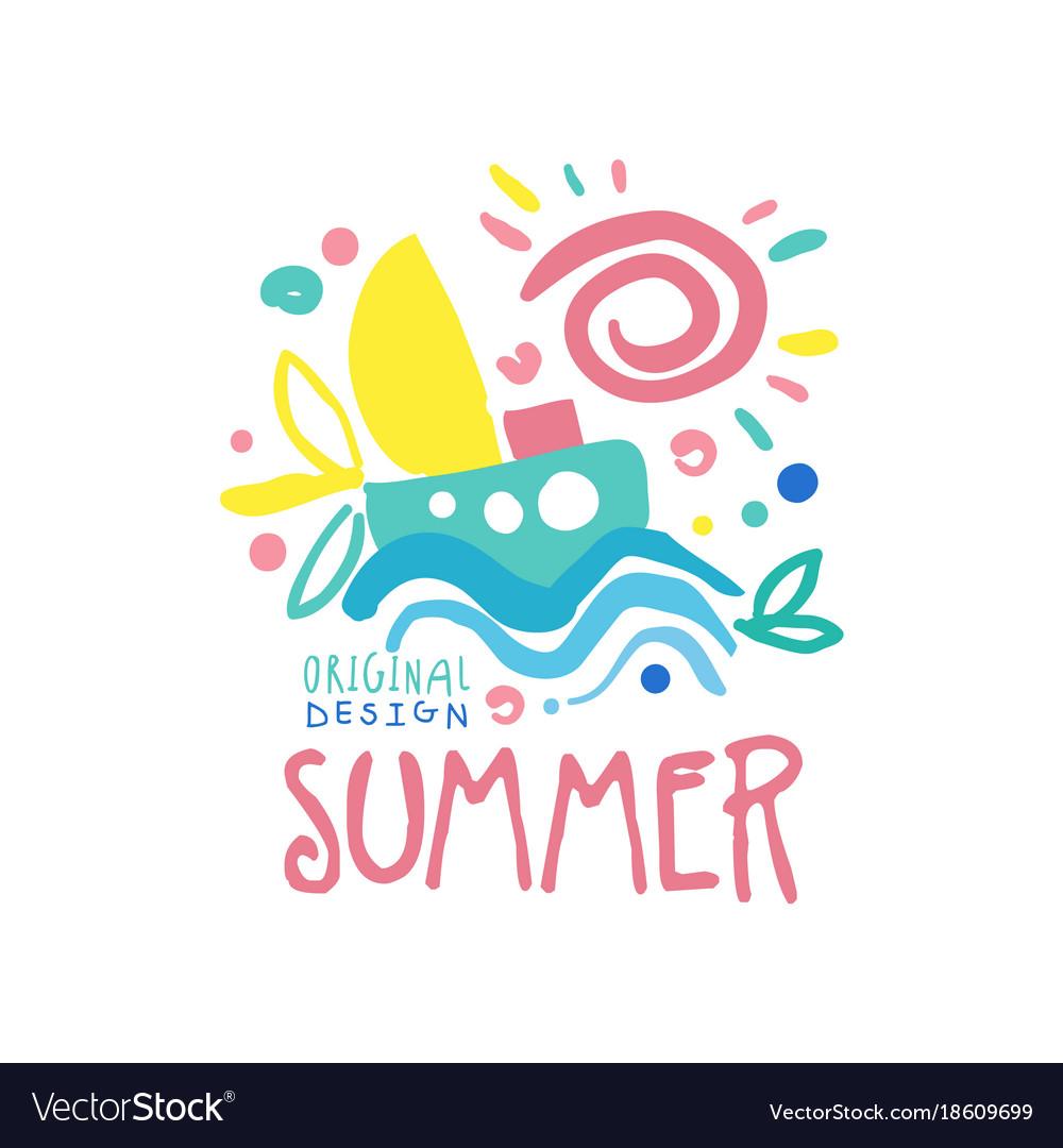 summer logo original design label for summer vector image rh vectorstock com summer vector files summer vector free icons