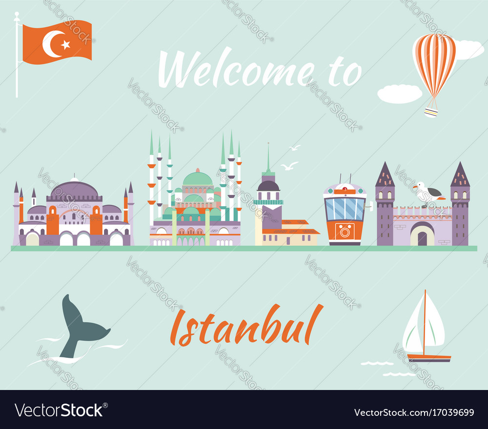 Tourist poster with famous landmarks of istanbul