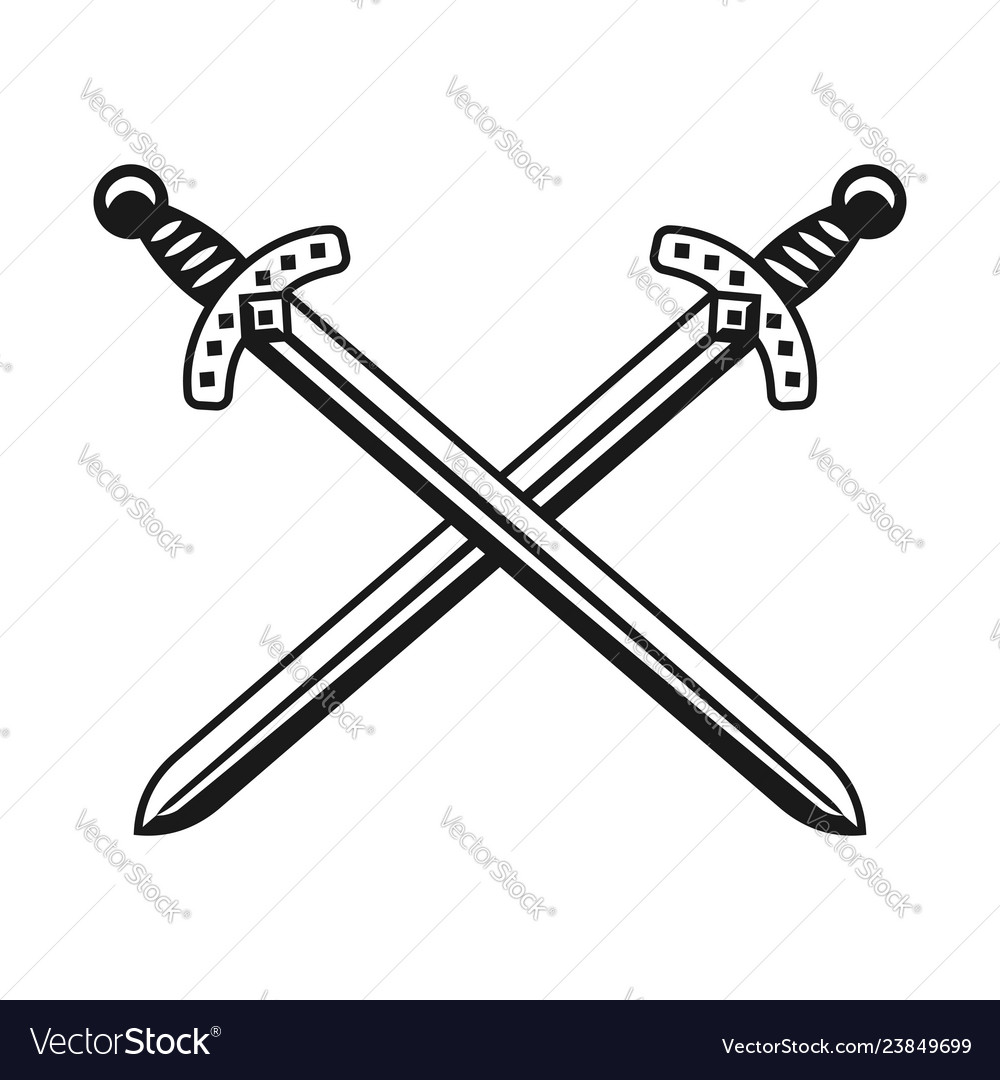 Two crossed swords weapon design object
