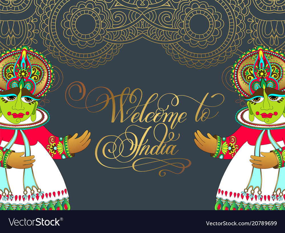 Welcome to india - hand lettering inscription