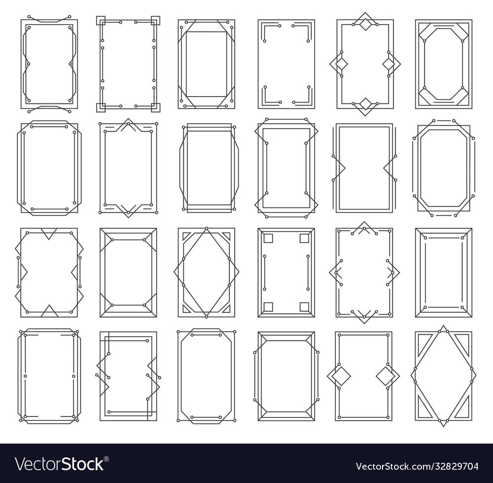 Art deco vintage linear frames