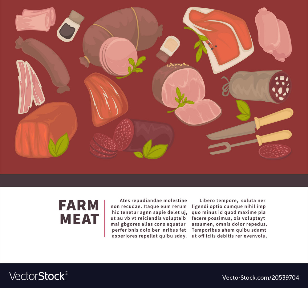 Farm meat and sausages products poster for