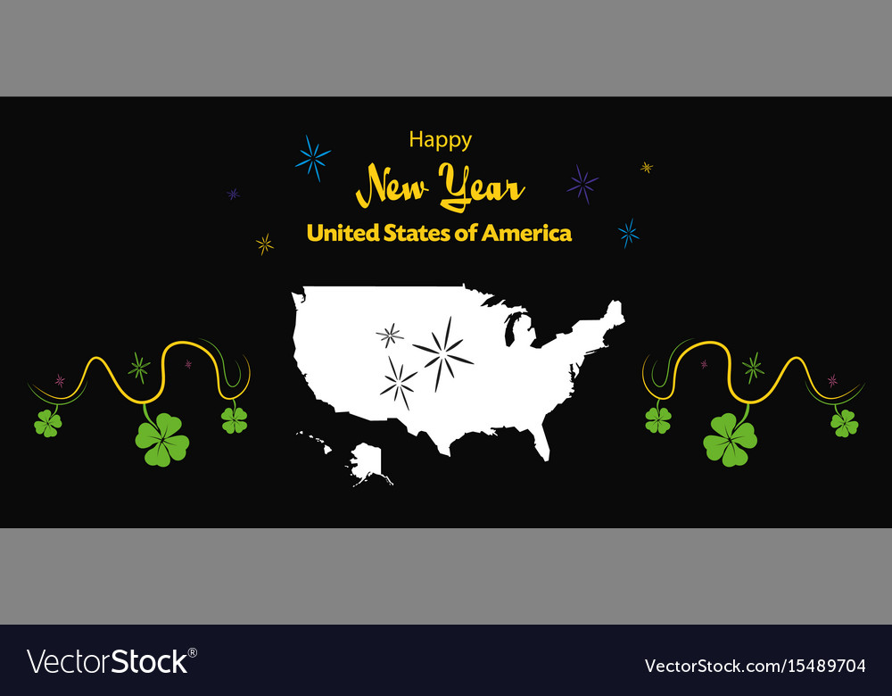 happy new year theme with map of the usa vector image