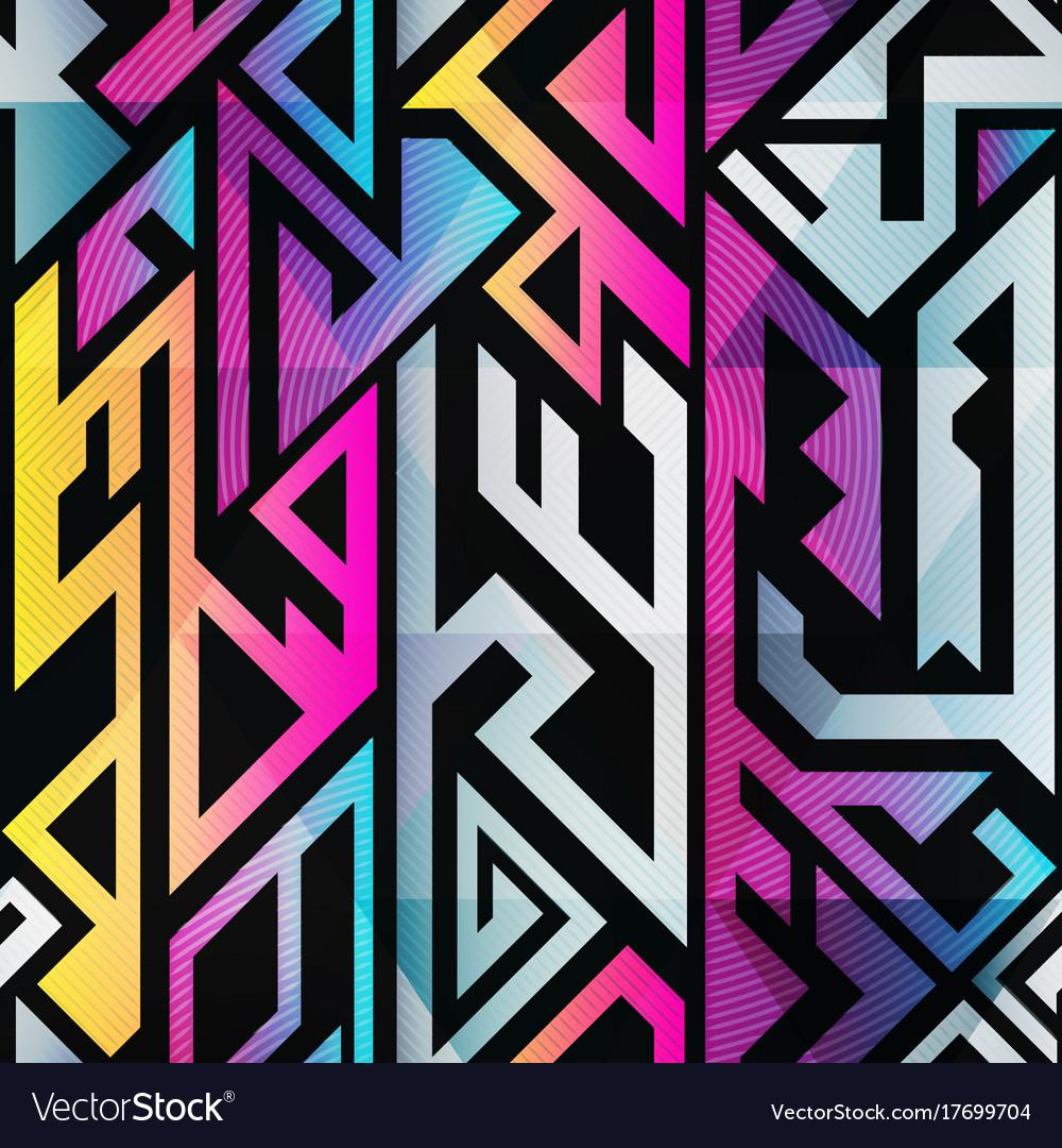 Rainbow color geometric seamless pattern