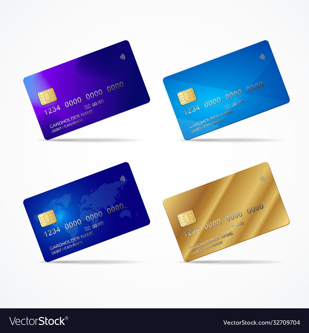 Realistic detailed 3d plastic credit card template