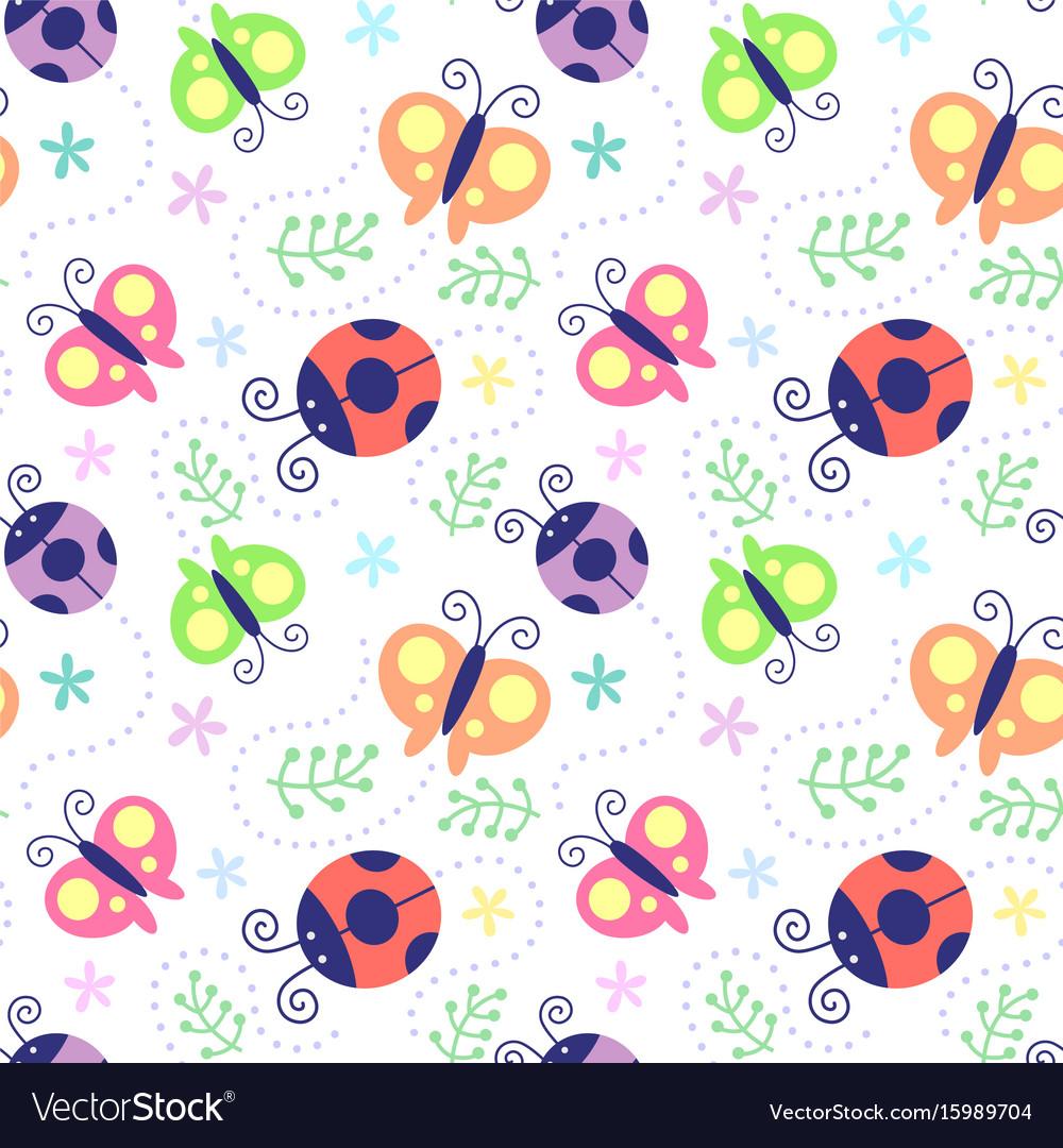 Seamless pattern ladybug