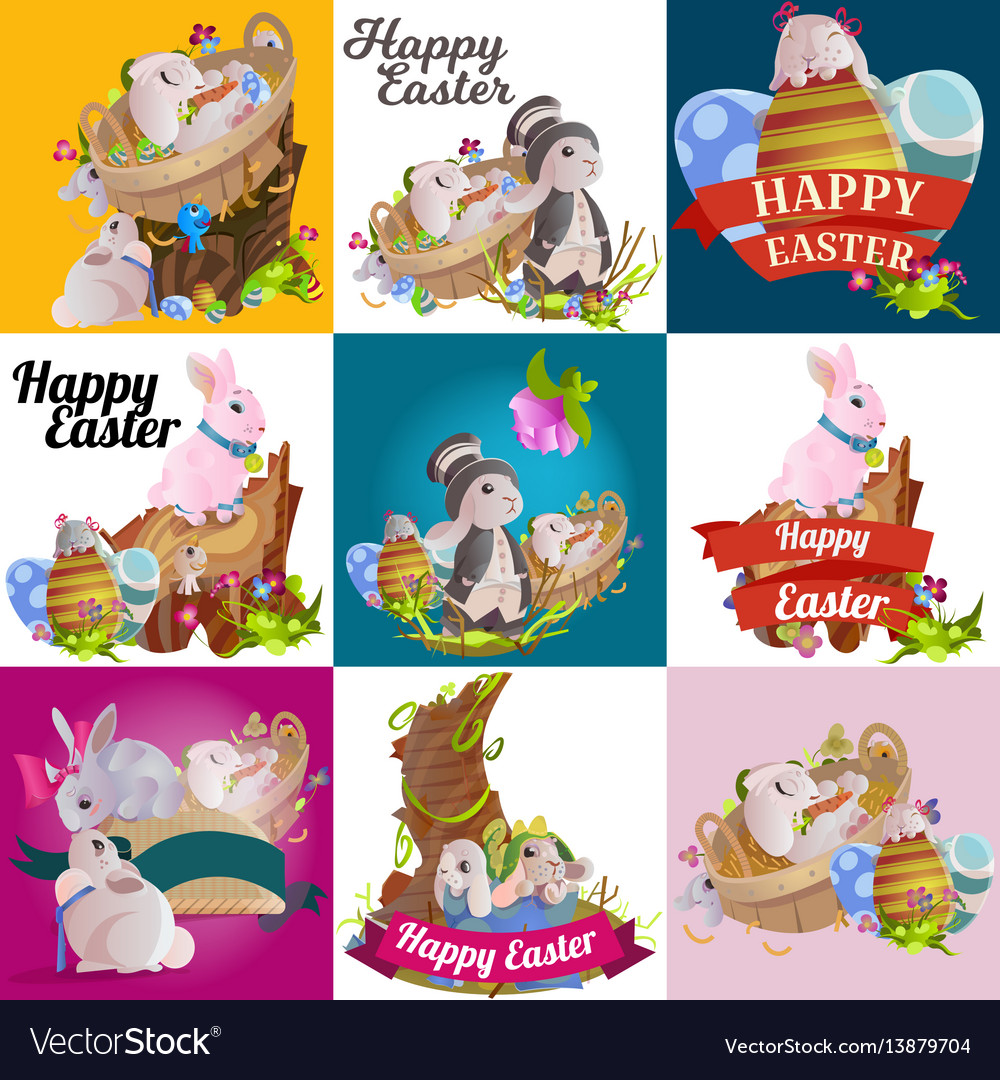 Set easter chocolate egg hunt bunny basket on vector