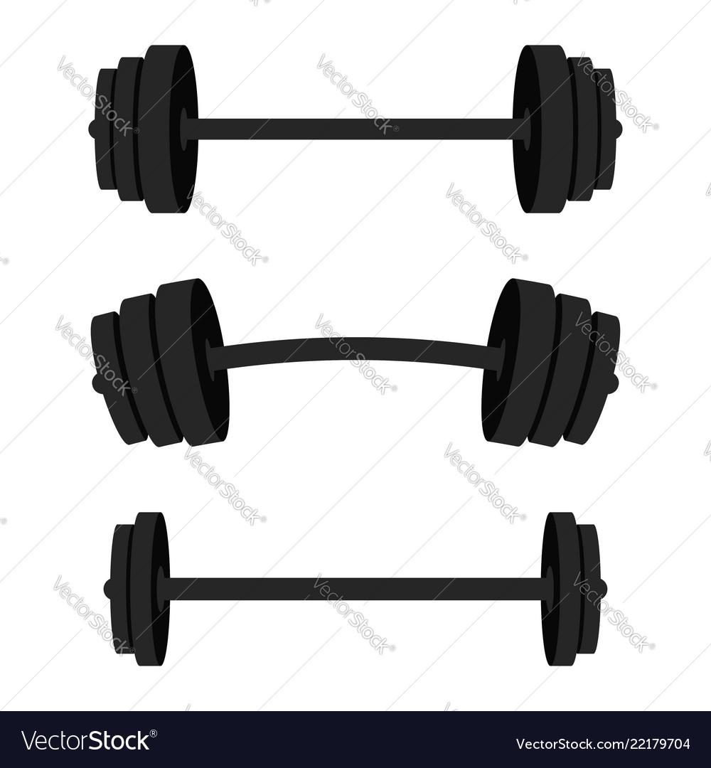 Set of barbells black barbells for gym fitness