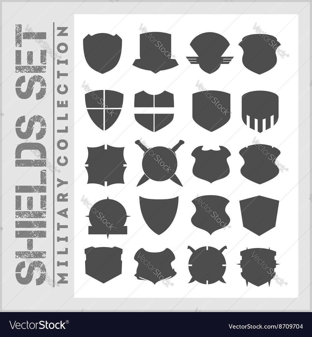 Shield frames icons set - military shields Vector Image