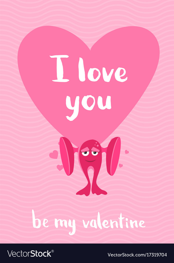 Valentines day card with hearts cartoon