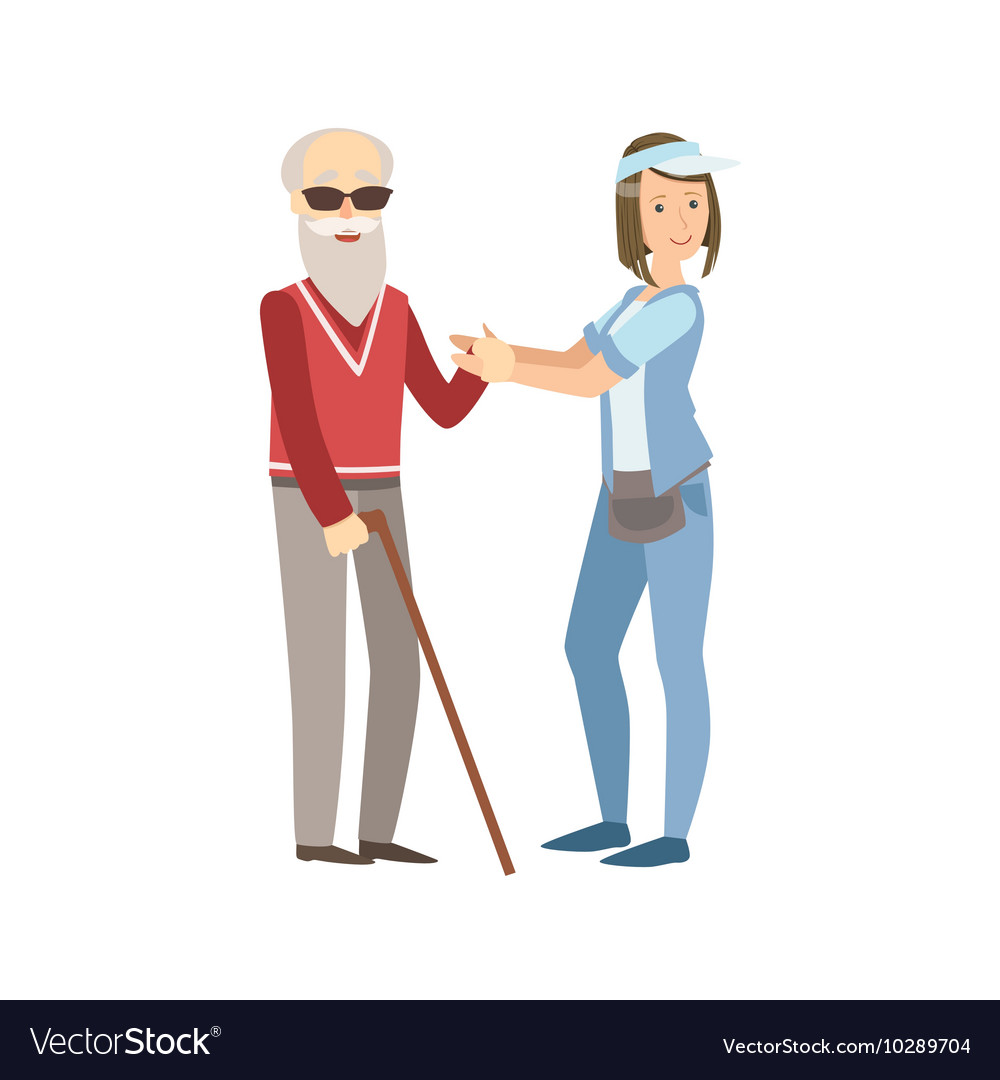 Volunteer Helping A Blind Old Man
