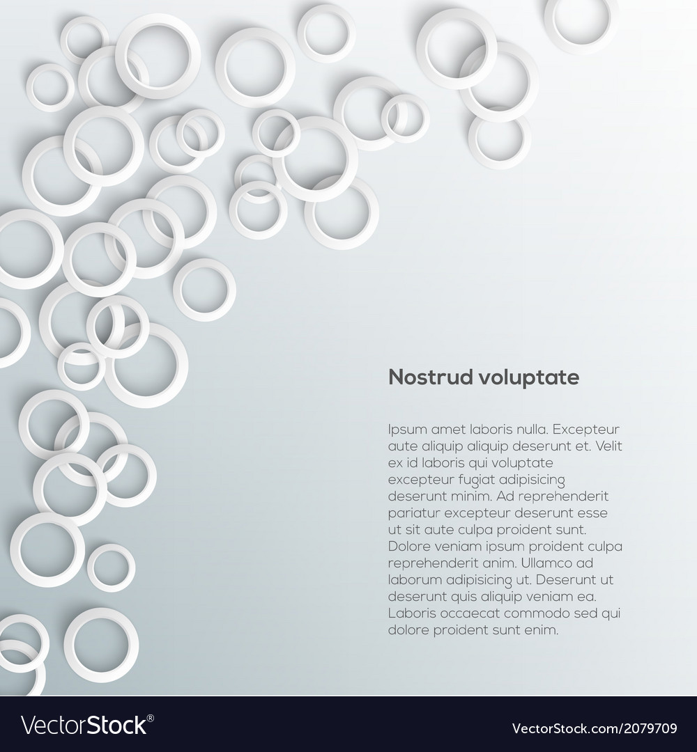 Abstract white paper circles on light background vector image