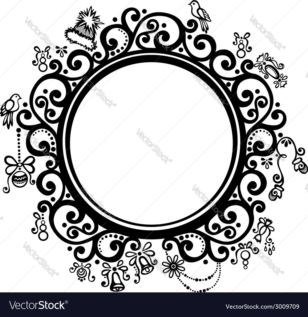 Beautiful Decorative Round Frame Royalty Free Vector Image