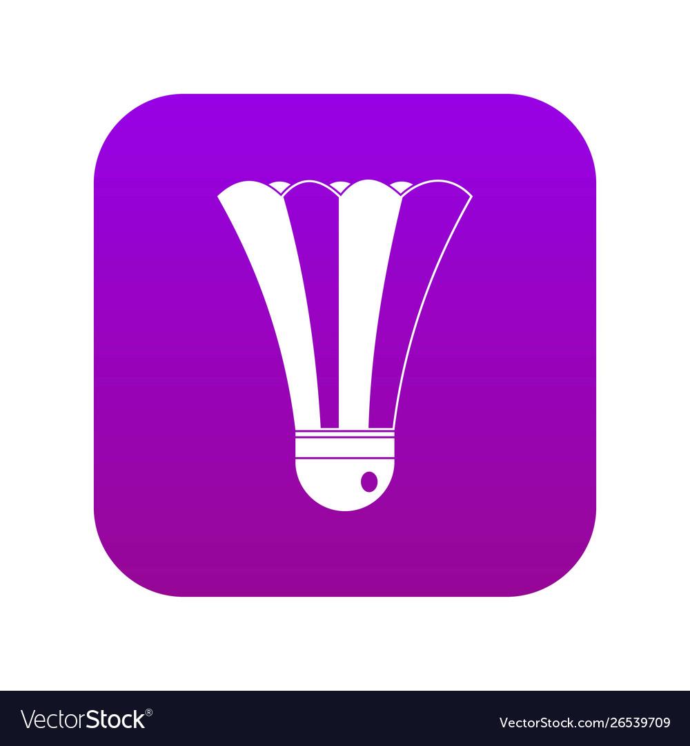 Black and white shuttlecock icon digital purple