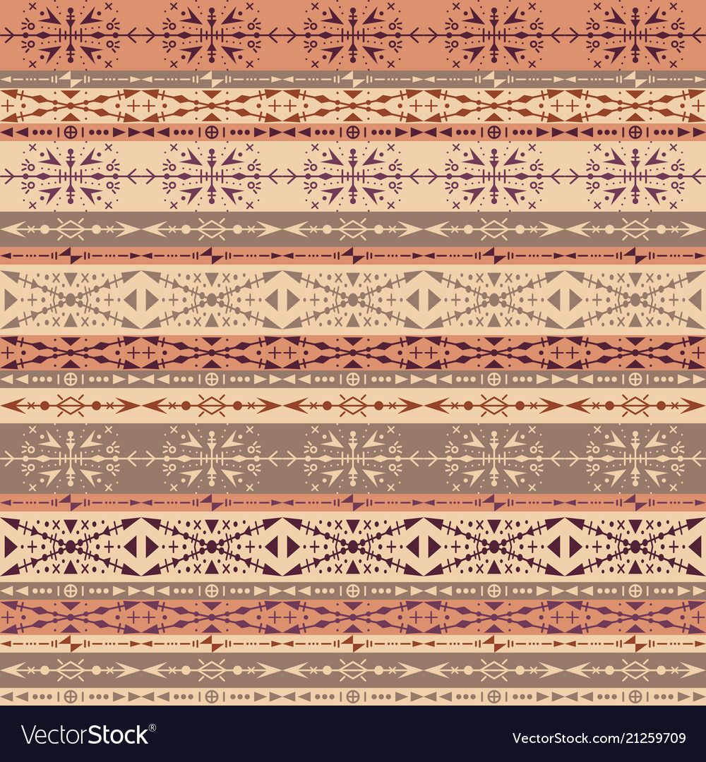 Brown tribal seamless pattern with ethnic