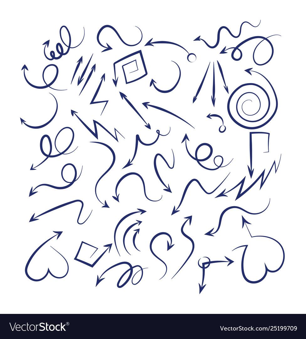 Doodle arrows set sketch swirly arrows black hand