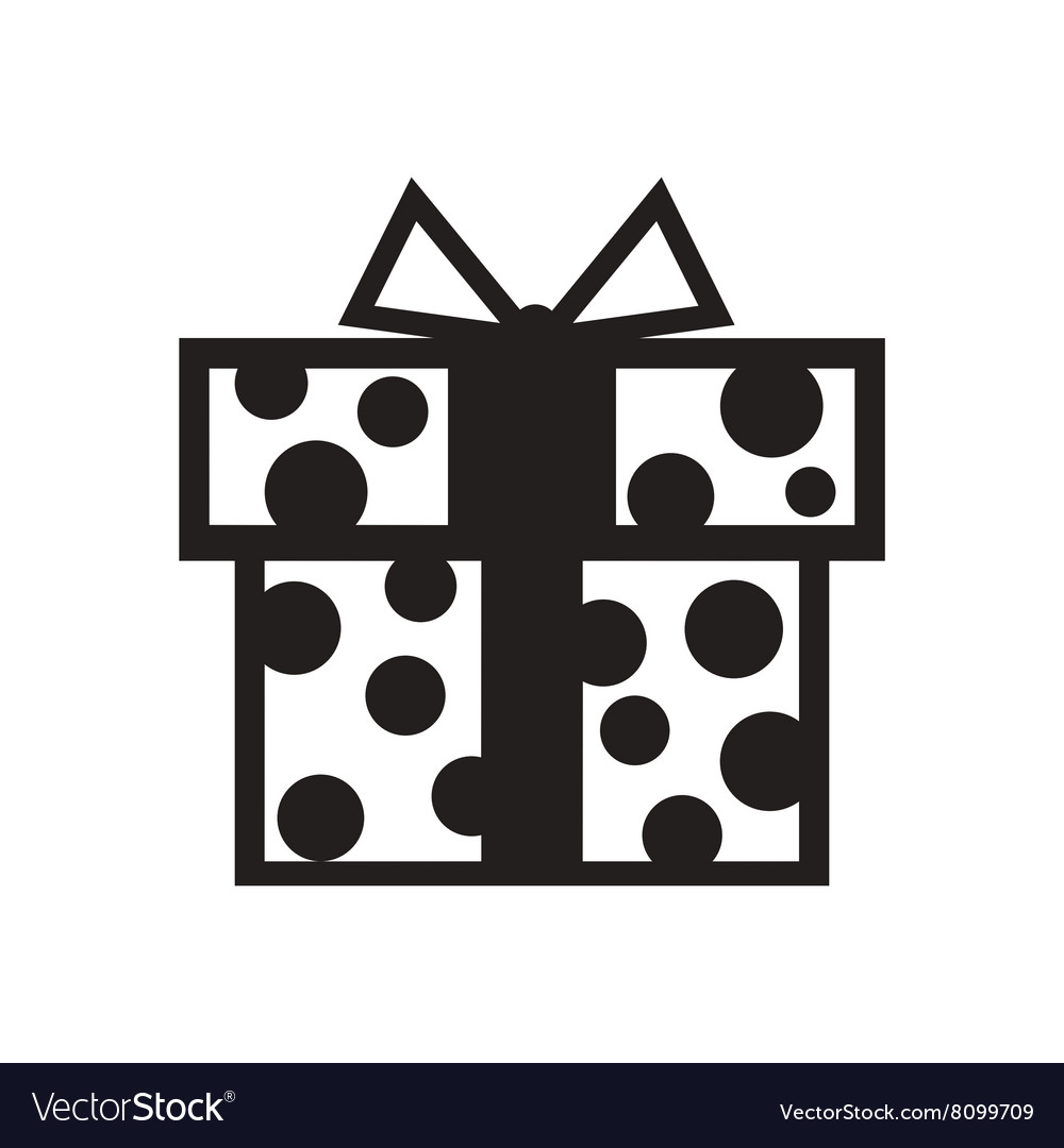 Flat Icon In Black And White Gift Box Royalty Free Vector