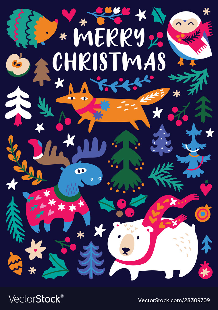 Funny christmas animals and trees in