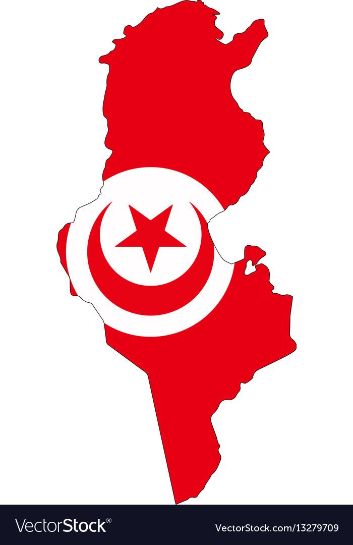 Map flag tunisia