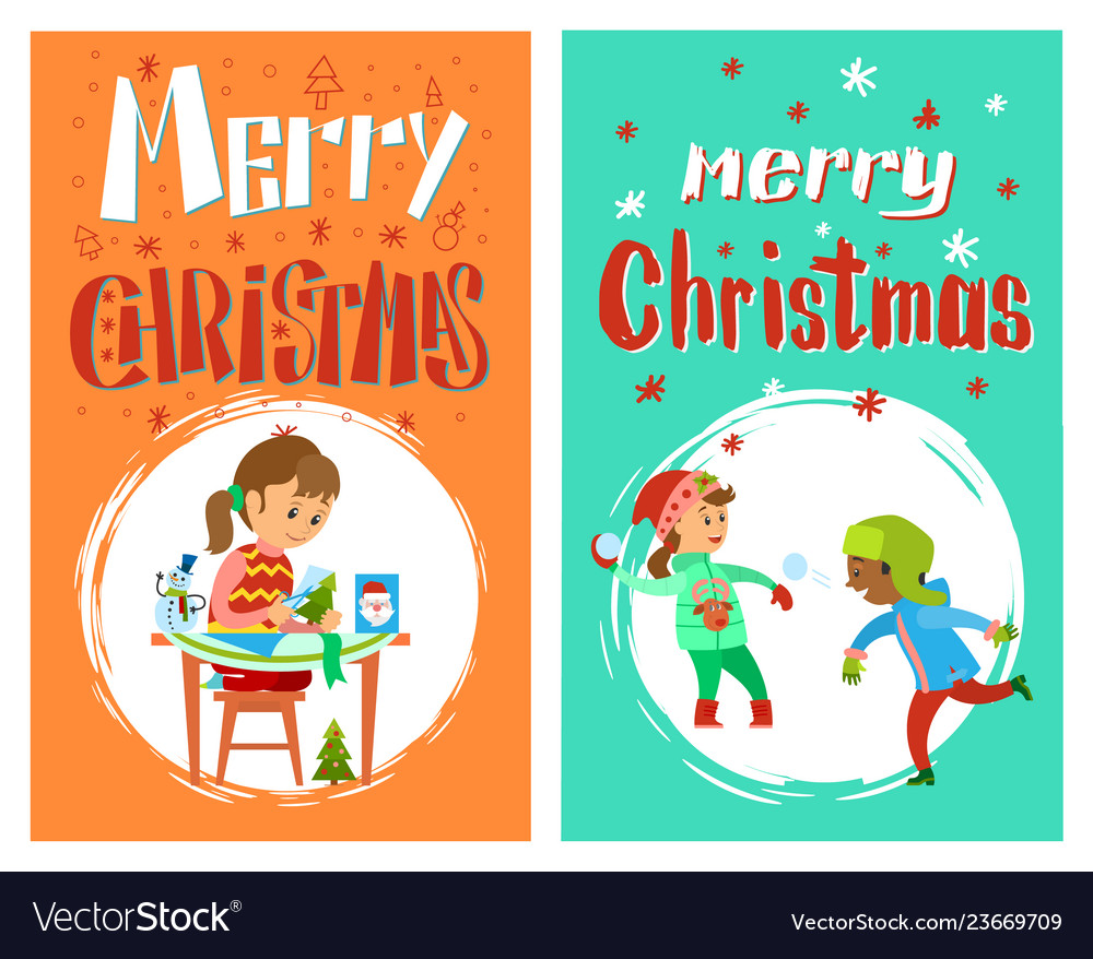 Merry christmas greering card with children