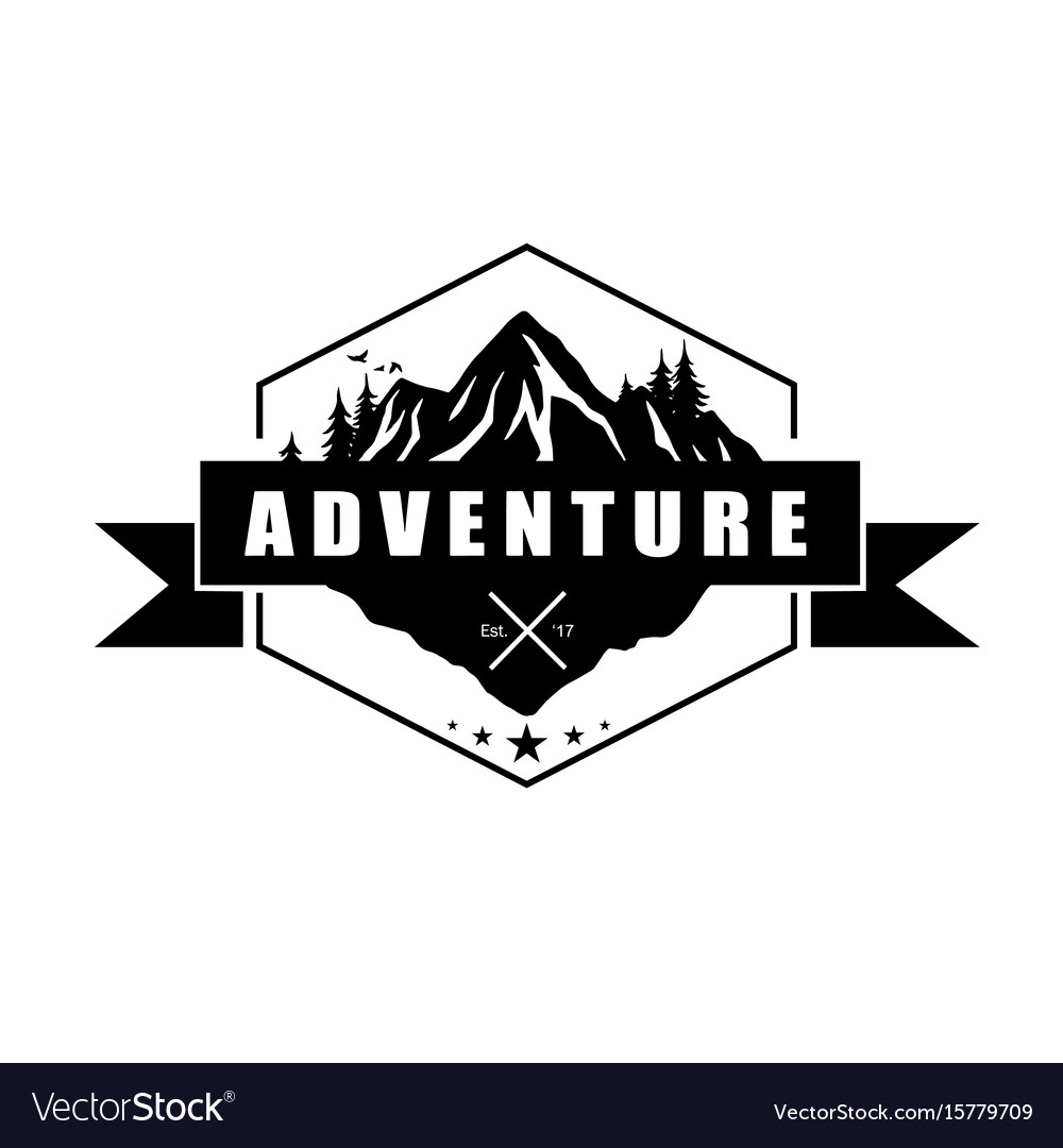 mountain adventure logo template design royalty free vector