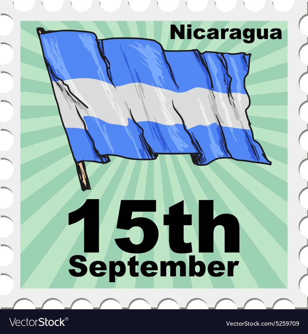 Post stamp of national day of Nicaragua