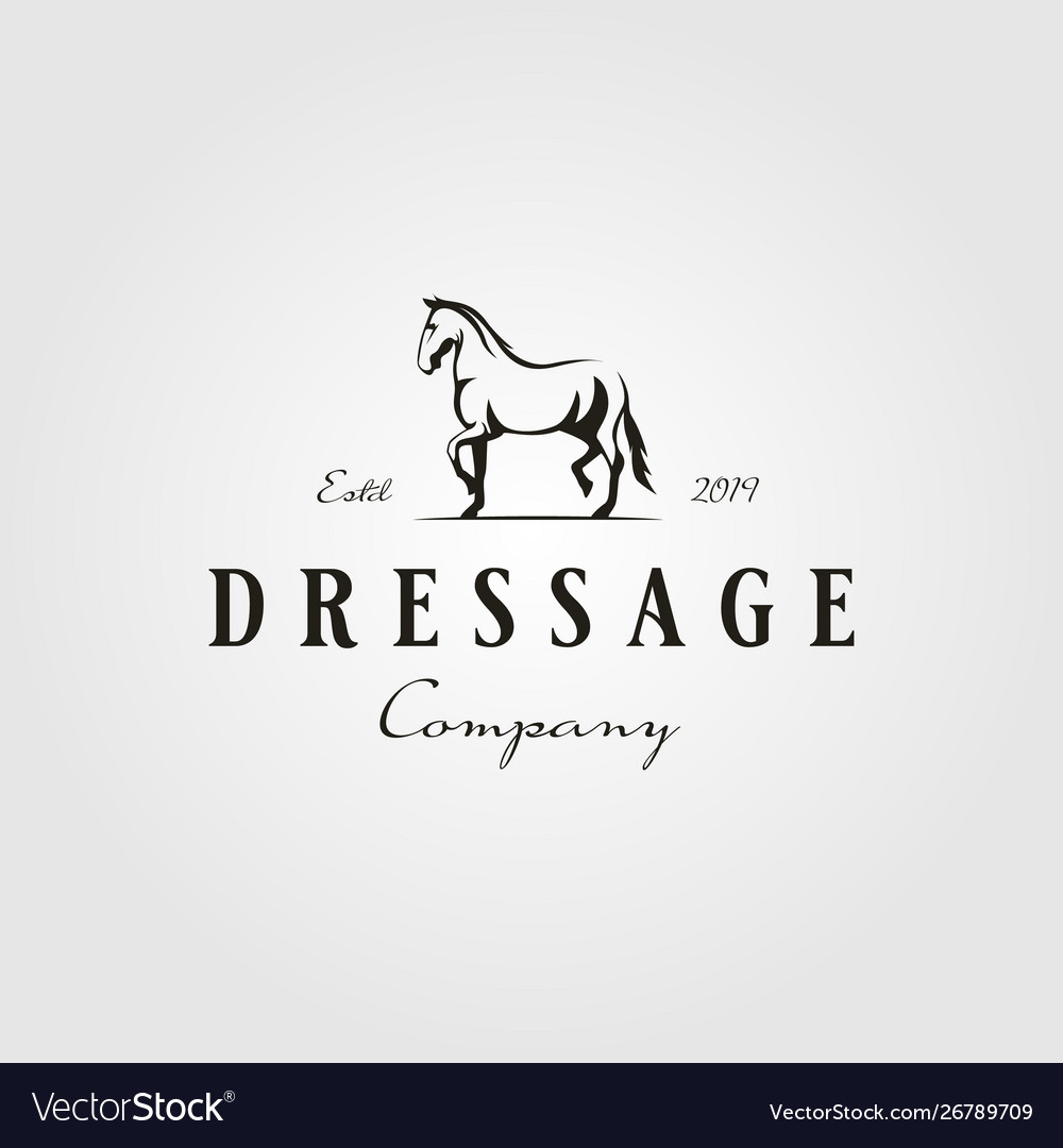Stallion horse running dressage logo hipster
