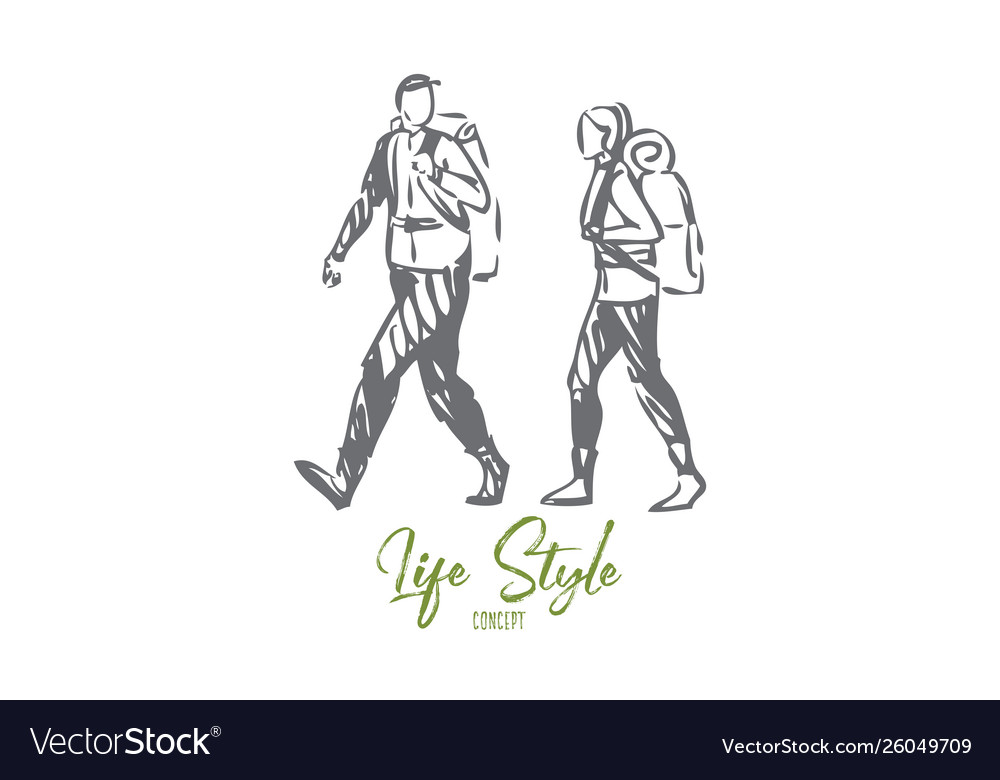 Tourism life style concept sketch isolated