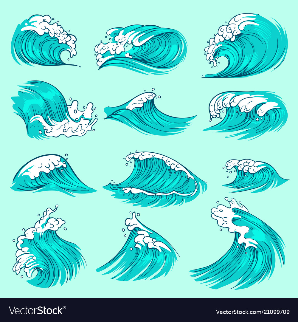 Vintage hand drawn sea blue waves with splashes