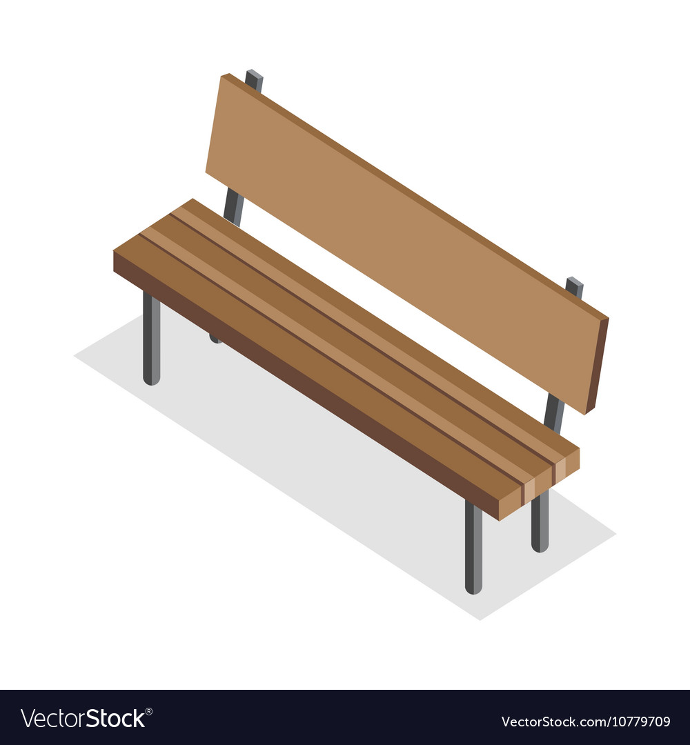 Wooden Bench in Isometric Projection