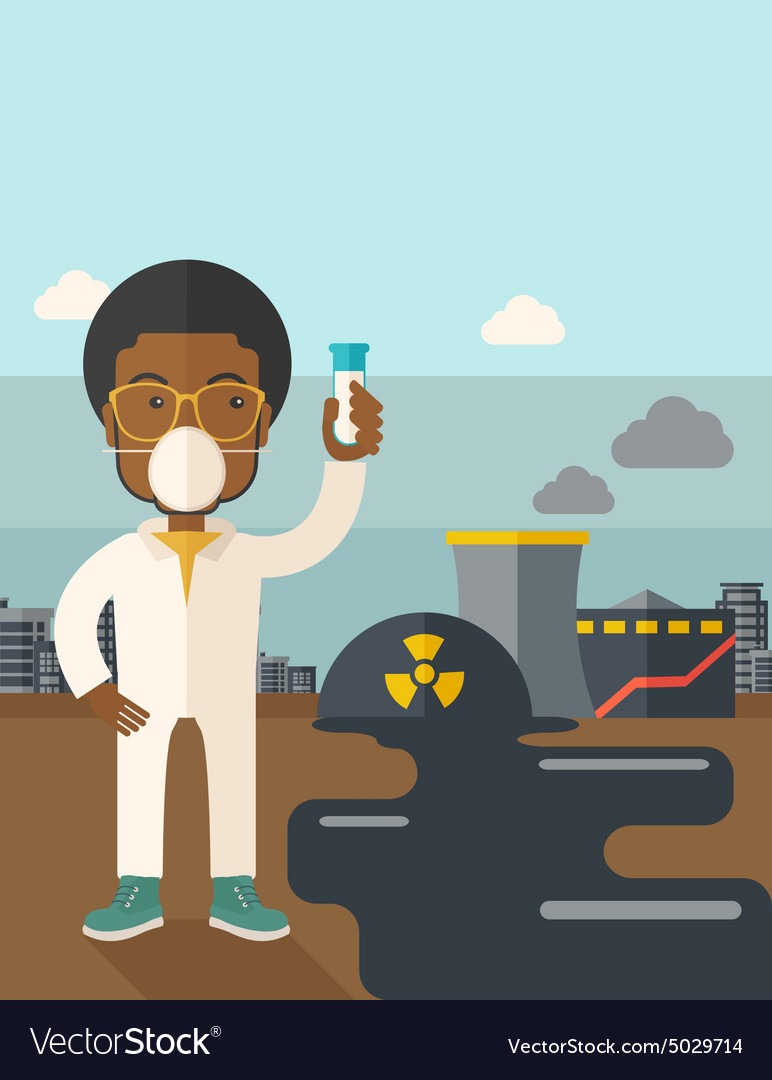 African Scientist with mask and test tube vector image