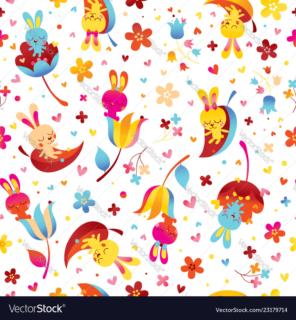 Bunnies and flowers seamless pattern