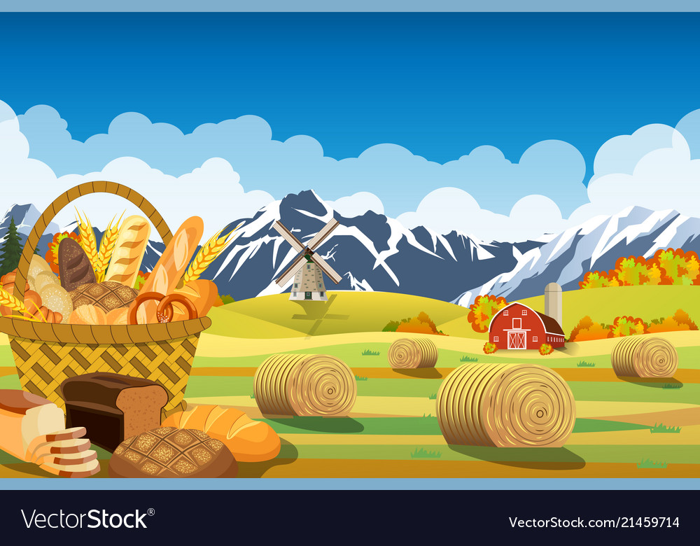 Cartoon beautiful fall farm scene