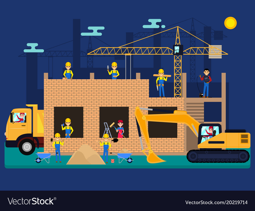 Cartoon builders on a construction site