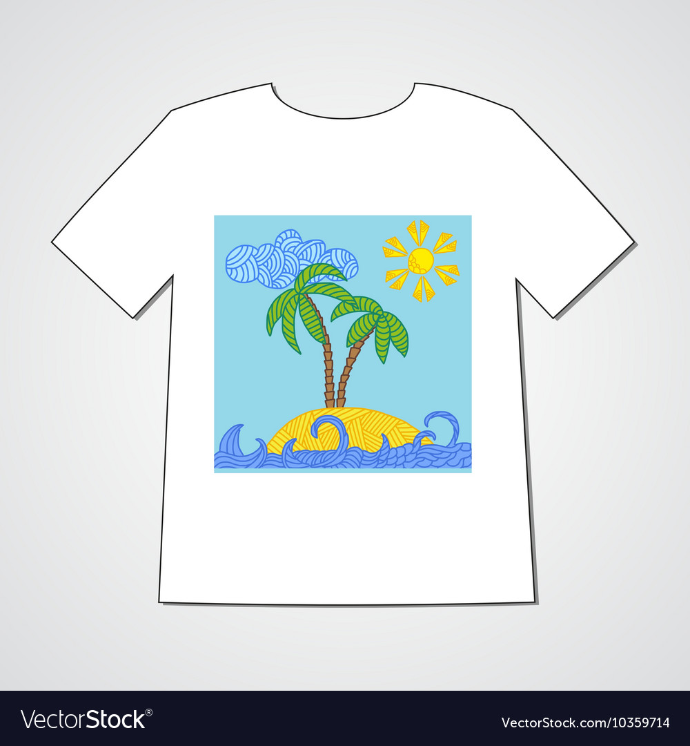 Hand drawn doodle pattern with tropical island