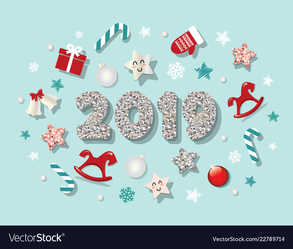 happy new year 2019 template with cute decorative vector image