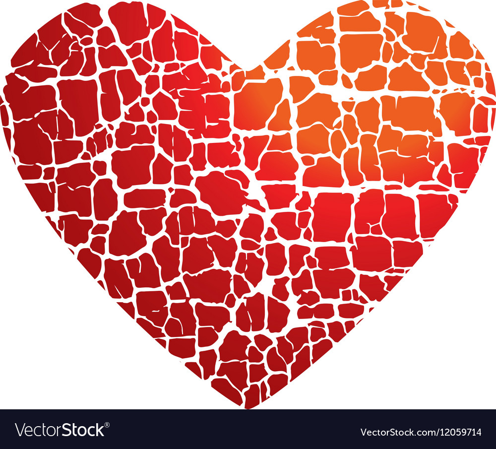 Love Icon Concept Abstract Broken Heart Symbol Red