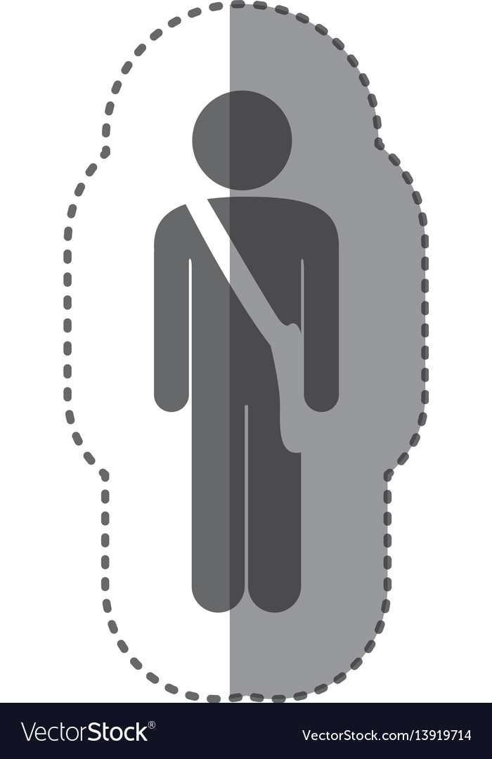 Sticker monochrome silhouette of pictogram postman vector image