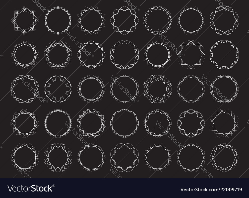 Abstract round frames set twisted design elements