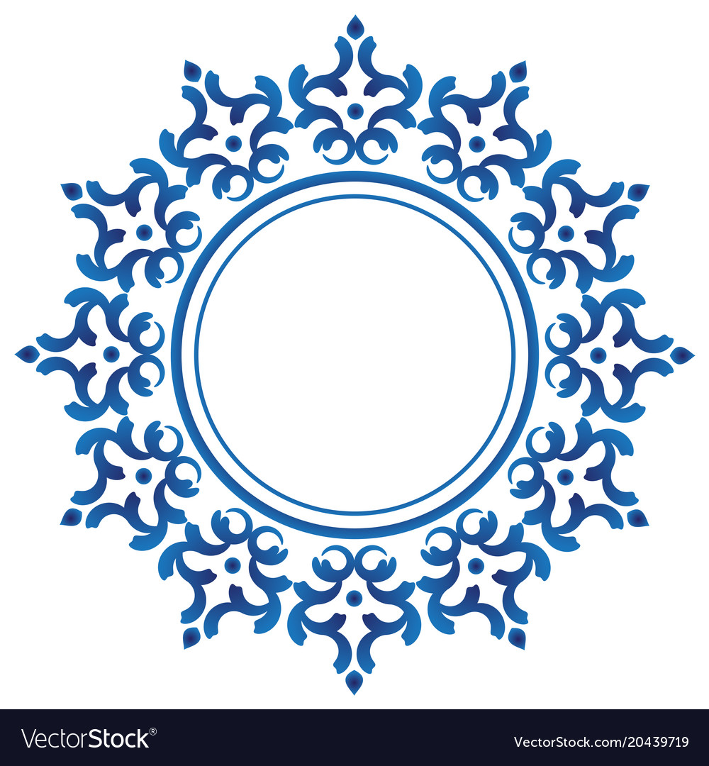 Ceramic decorative round frame Royalty Free Vector Image