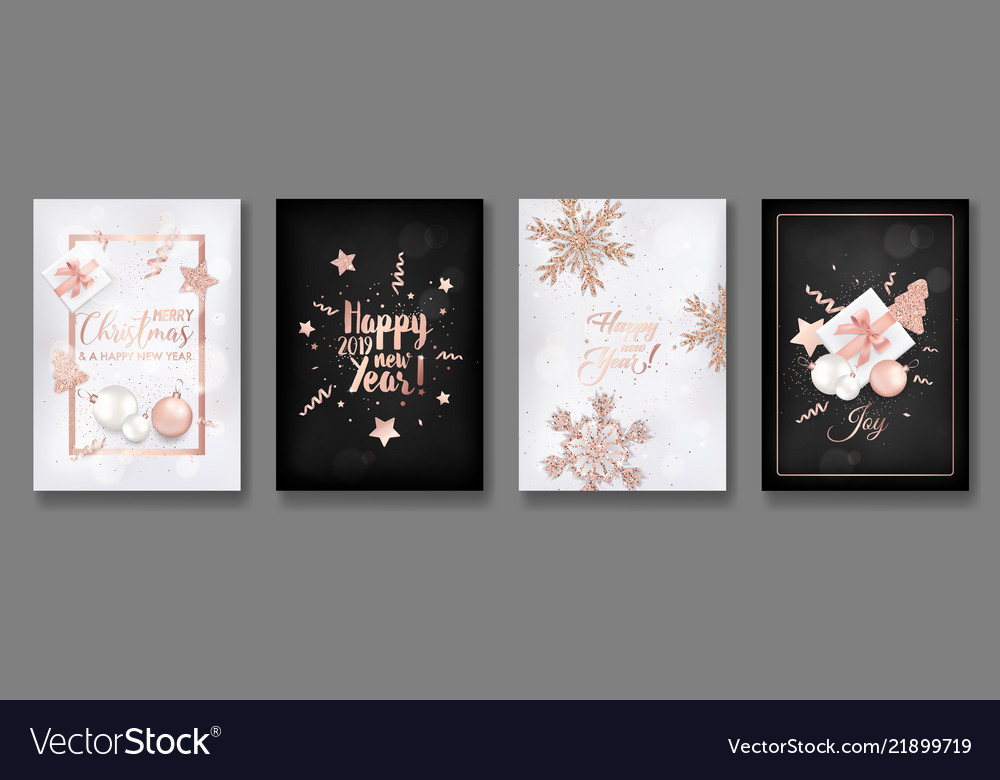 Collection elegant merry christmas cards