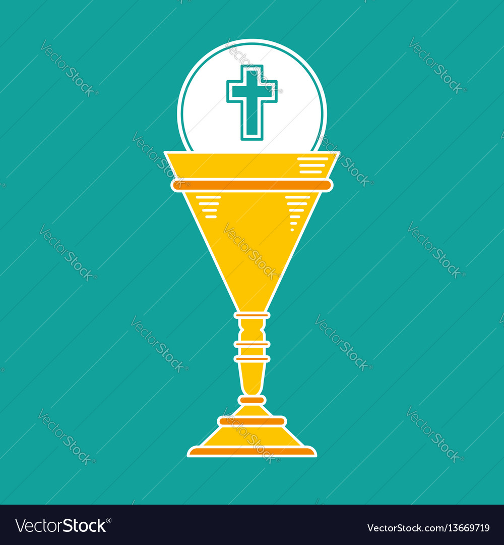 Cup chalice first communion icon graphic vector image