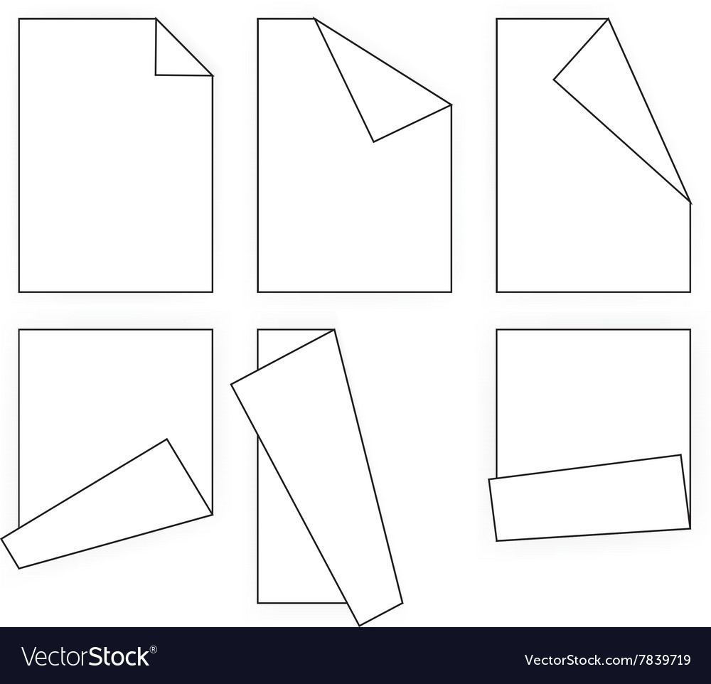 Folding white paper icons vector image