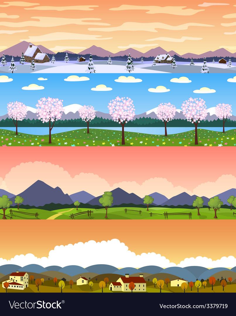 Four seasons landscape cartoon seamless vector image - Four Seasons Landscape Cartoon Seamless Royalty Free Vector