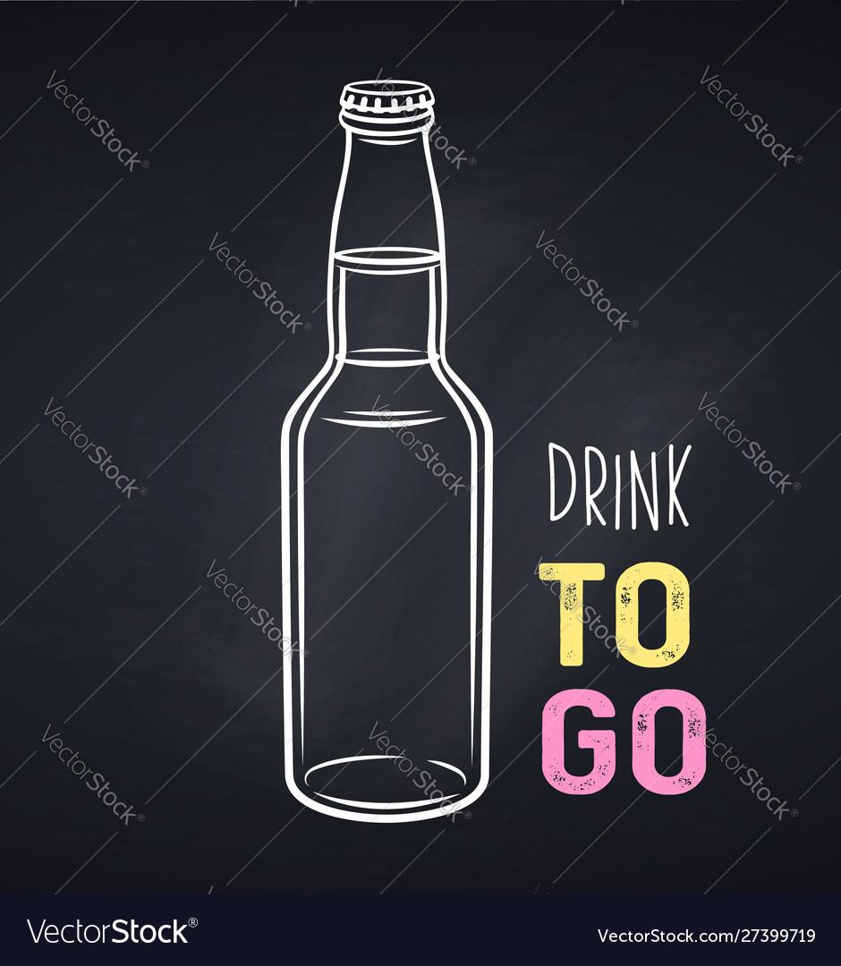 Glass drink bottle icon chalkboard