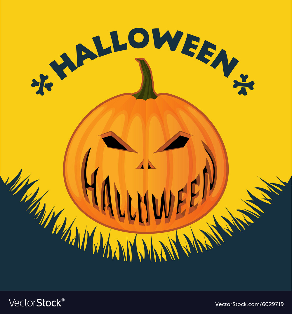 Halloween poster on a yellow background