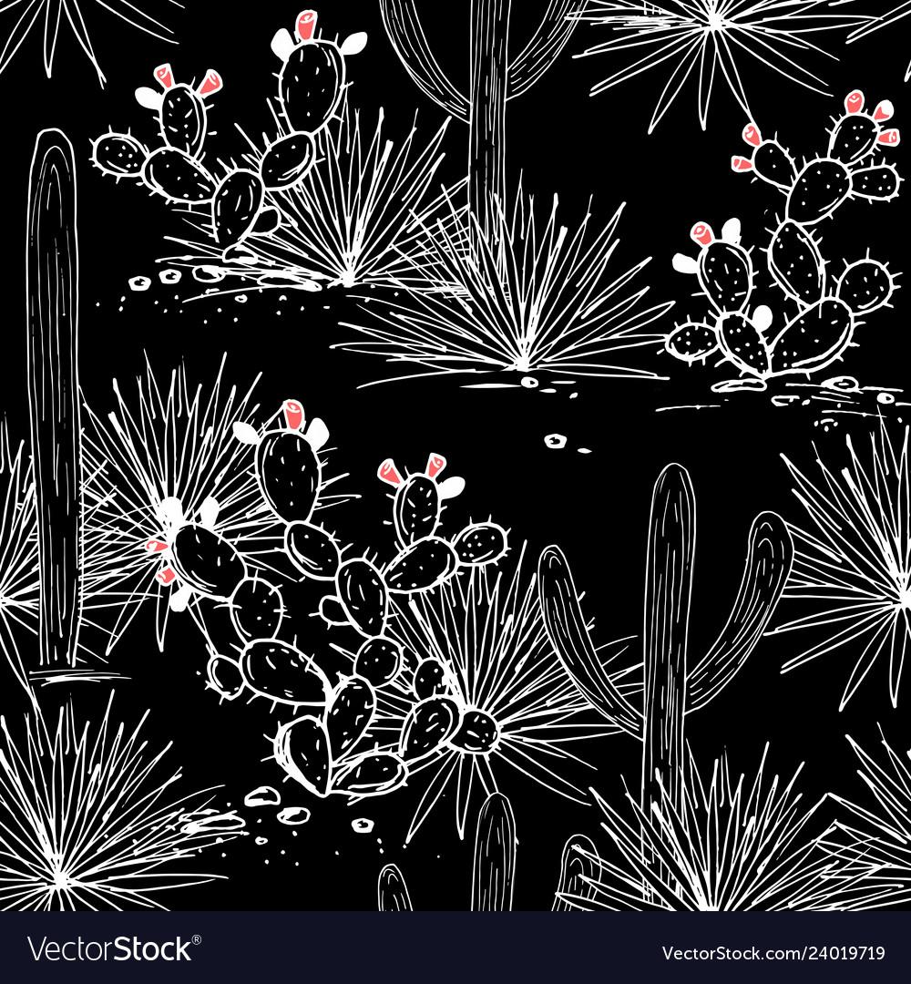 Hand drawn seamless pattern with sketch saguaro