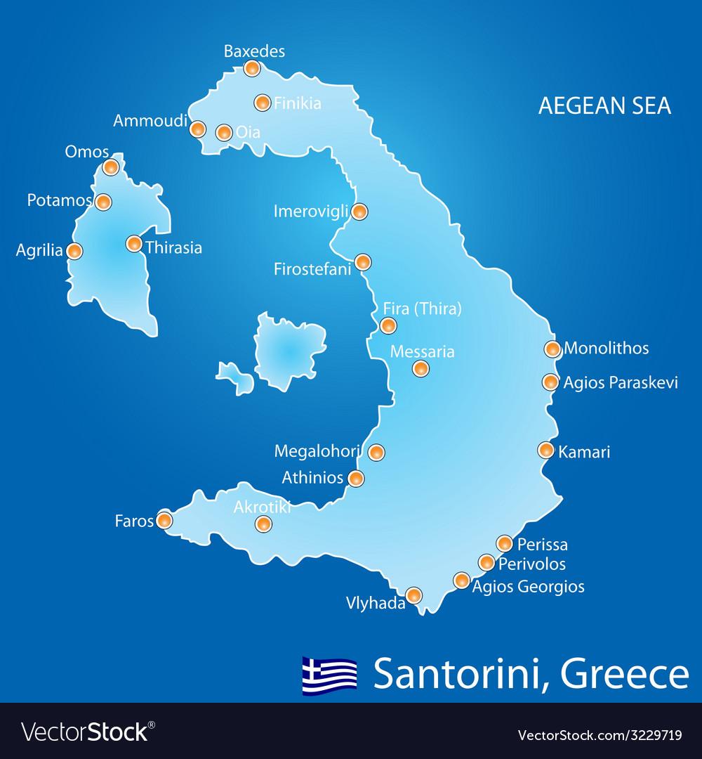 Island Of Santorini In Greece Map