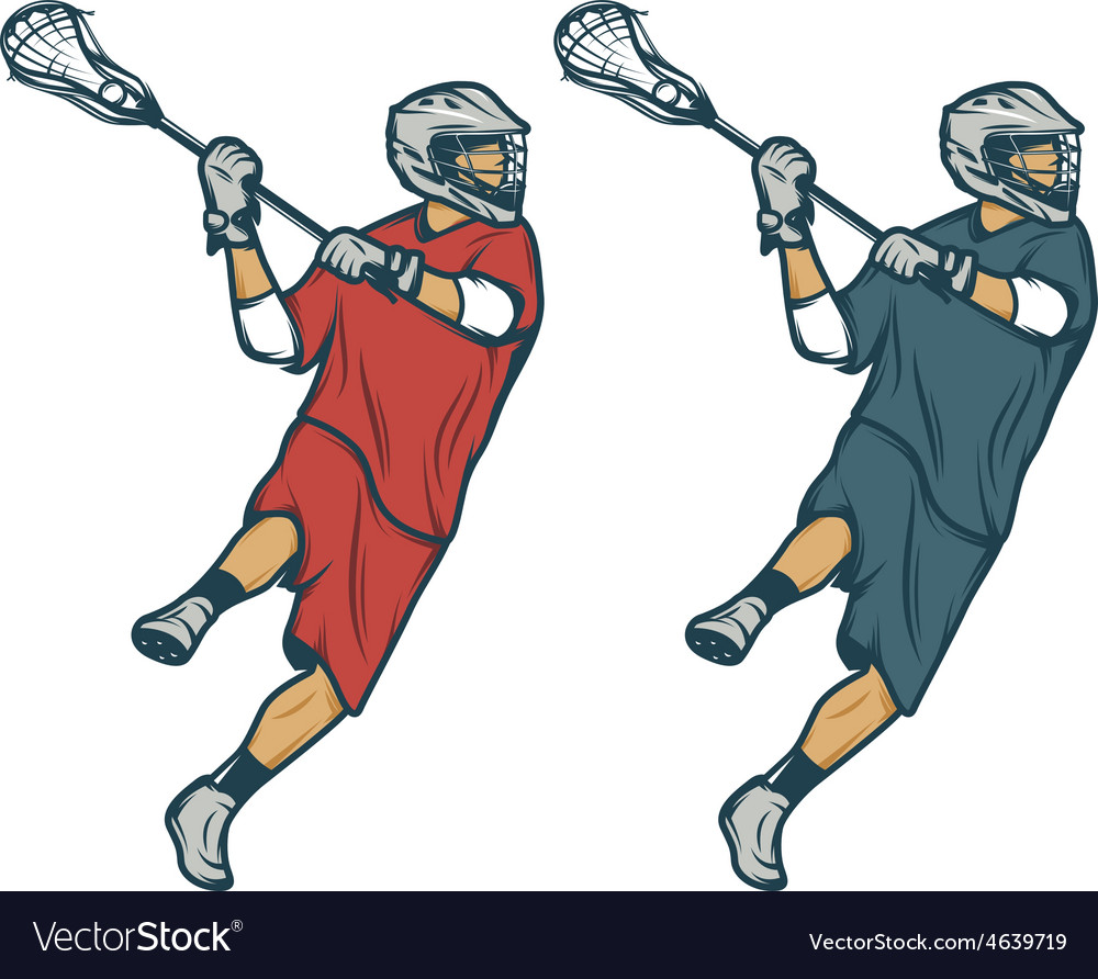 Lacrosse player in shooting pose isolated